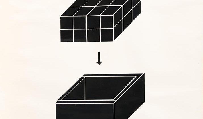 Sergio Lombardo -  Carte anni '60, Supercomponibile, Progetto per scatola contenente 24 cubi - Collage su carta - 1967 - 50X70cm
