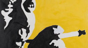 10) Mao Tze Tung (nero, bianco e giallo)_1964_smalto su tela_120x120 BEN0123