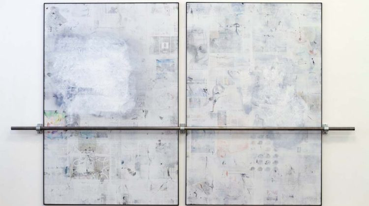 Dan Shaw-Town - Untitled -  2014 - Enamel and newspaper transfer on econolite with steel frame and bar  184 x 305,8 cm