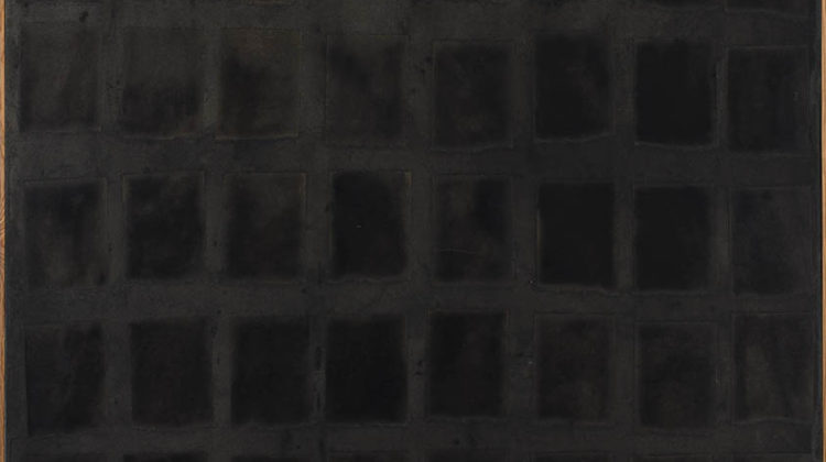 Sergio Lombardo - Nero56 - collage e smalto su tela - 1960 - 100x120cm