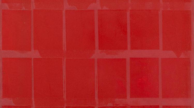 Sergio Lombardo - Rosso24 - collage e smalto su tela - 100x100cm