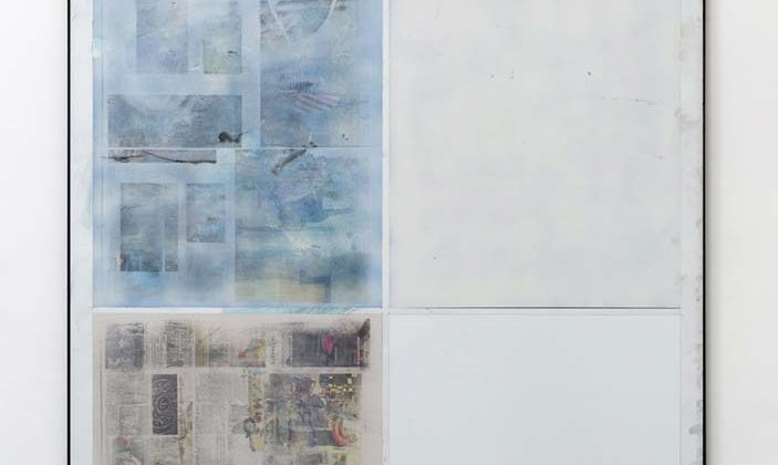 Dan Shaw-Town - Untitled - 2014 - Acrylic, enamel and newspaper transfer on econolite within steel frame  184 x 123 cm