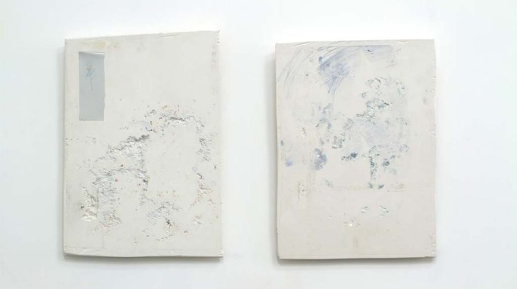 Left: Josh Tonsfeldt -  Untitled - 2014 - pigment ink, plaster, aluminum  43.2 x 62.2 cm   >br>  Right: Josh Tonsfeldt - Untitled - 2014 - pigment ink on plaster 43.2 x 62.2 cm