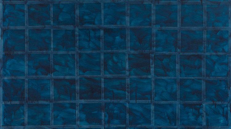 Sergio Lombardo - Azzurro81 - collage e smalto su tela - 200x200cm
