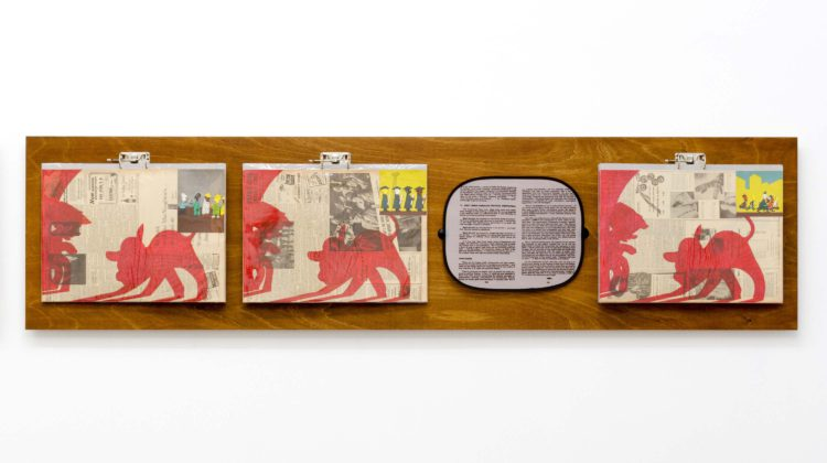 Per-Oskar Leu - In Praise of Learning VI, 2014 - Watercolor marker and found book illustrations on 1940s newspaper pages, mounted on cardboard in plastic sleeves, hung from steel binders on stained plywood panel. Custom printed sunshade with found text 60 x 240 cm