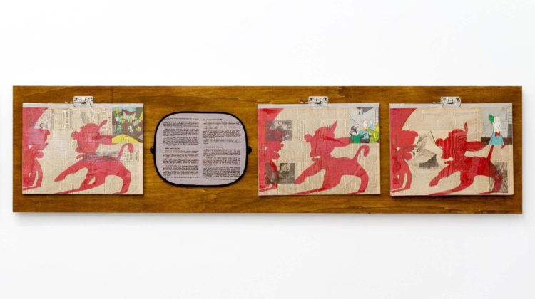 Per-Oskar Leu - In Praise of Learning III, 2014 - Watercolor marker and found book illustrations on 1940s newspaper pages, mounted on cardboard in plastic sleeves, hung from steel binders on stained plywood panel. Custom printed sunshade with found text 60 x 240 cm