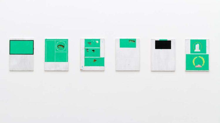 Kasper Bosmans - Legend (Callas) - Gouache on wood, silver 21x28 cm each Series of 6 2015