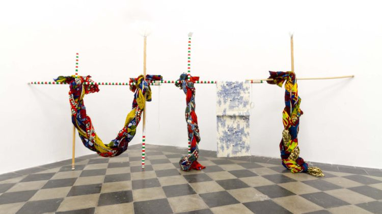 Raffaella Crispino - Samia - Installation with wood, fabric, feathers, rubber, ropes, polystyrene 170 x 300 cm Unique 2015