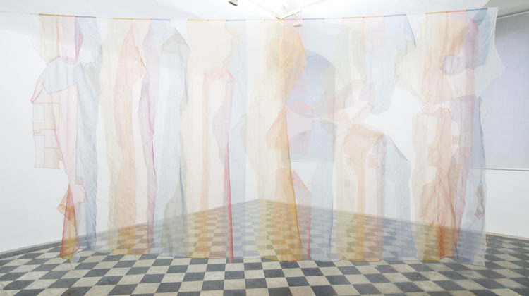 Raffaella Crispino - Untitled (time zones) - 2015 - Organza curtain 300 x 600 cm Unique