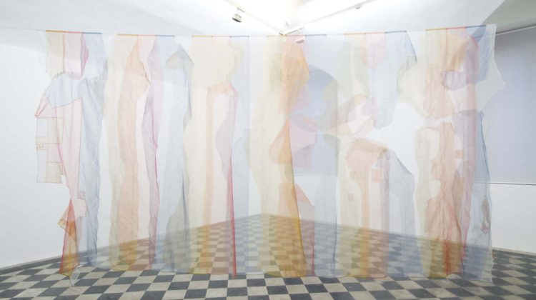 Raffaella Crispino - Untitled (time zones) - Organza curtain 300 x 600 cm Unique 2015