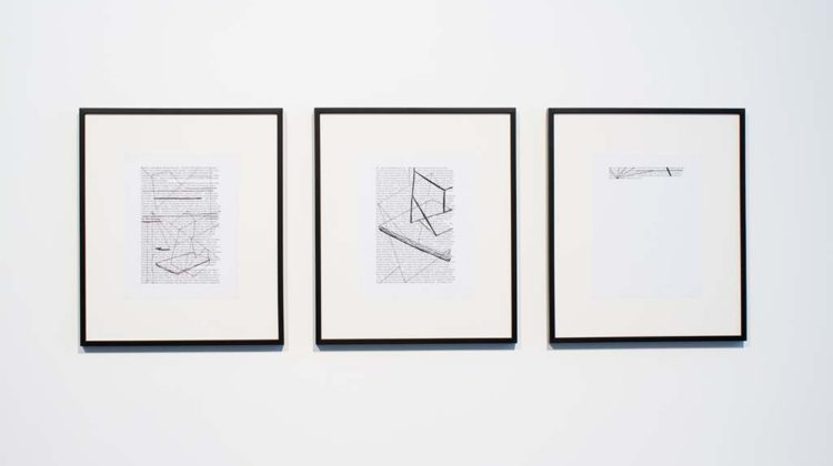 Pedro Barateiro - Cidade - 2007 - drawings on text A4 print, black marker, 21,5 x 27,8 cm (each, unframed)