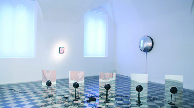 Amie Dicke -  Absorb -  2008 -  Cotton sheets, wine  Dimensions vary with installation; each 280 x 120 cm
