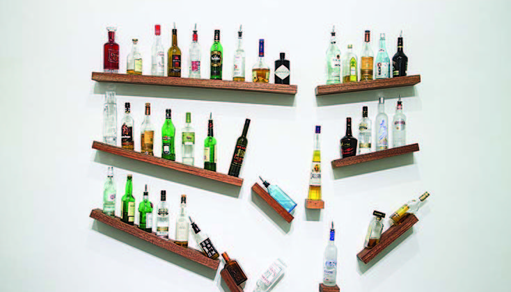 James Hopkins -  Slammer -  2008 -  Wood and bottles 225 x 190 x 8 cm
