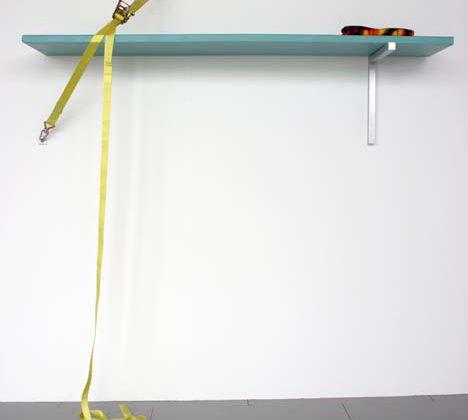 Magali Reus - Dive - 2008 - Fiberglass, polyester, resin, aluminium, ratchet, carabiner clips, beach towel, 245 x 100 x 52 cm