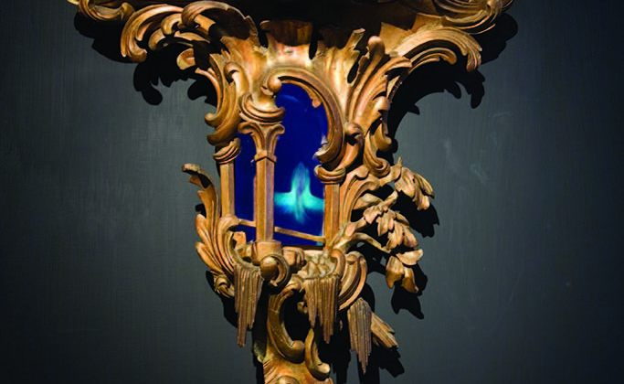 Mat Collishaw -  Windfall -  2008 -  Wood, steel, acrylic, lcd screen and surveillance mirror 65 x 59 x 21 cm