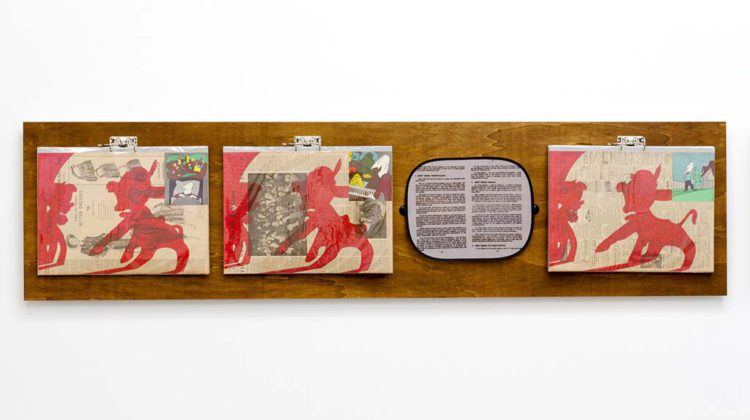 Per-Oskar Leu - In Praise of Learning II - 2014 - Watercolor marker and found book illustrations on 1940s newspaper pages, mounted on cardboard in plastic sleeves, hung from steel binders on stained plywood panel. Custom printed sunshade with found text 60 x 240 cm