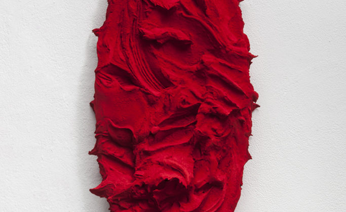 Jason Martin - As yet untitled -   2013 - pure pigment on aluminium, quinacridone scarlet - 45x95 cm