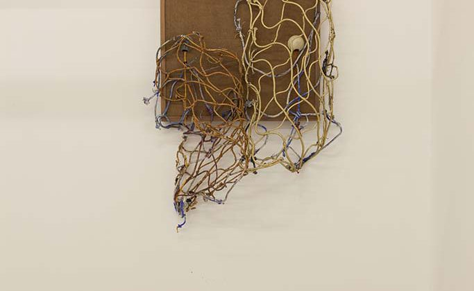 "Jonathan VanDyke - Breads - 2014 - Walnut wood, masonite, cast plastic, rope and pigmented urethane in dripping sequence 26"" x 34"""
