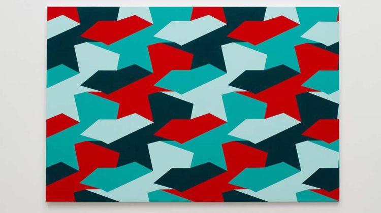 Sergio Lombardo - Due forme, quattro colori - 2009 - Vinilico su tela  100 x 150 cm