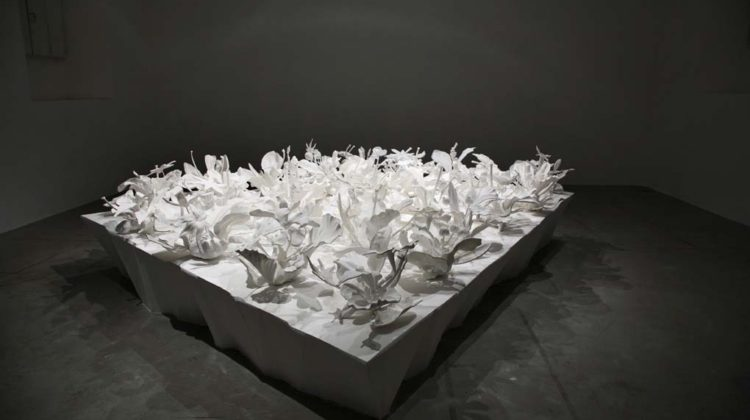 Carla Mattii -  Type Theory -  2008 -  wood, paper, polyurethane resin and sintered nylon 300x300x90 cm