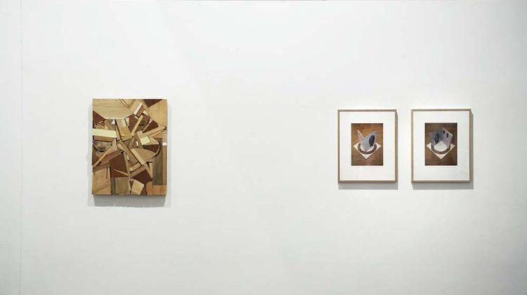 Left:  Donelle Woolford -  Detonation -  2007 -  Wood scraps, latex paint, wood glue, screws 65 x 52 x 6 cm  Right:  Falke Pisano -  Questions #1 -  2008 -  Two digital prints 50 x 40 cm Edition of 4 + 1 AP (Ex. 1/4)