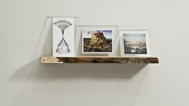 Raffaella Crispino -  Har Homa -  2010 -  ash wood, glass, drawing, photo, print 45 X 10 X 20 cm