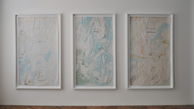 Raffaella Crispino - Dédicace - (For M) (To R.) (For S and I and J and B, of course) - 2015 - mixed media on paper, wooden frame, 115x195 cm each