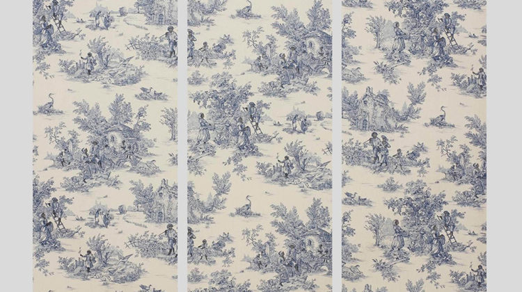 Raffaella Crispino - Untitled (Jouy) - 2016 - Graphic pen on printed fabric Triptych 78 x 24 inches (198,12 x 60,96 cm) each
