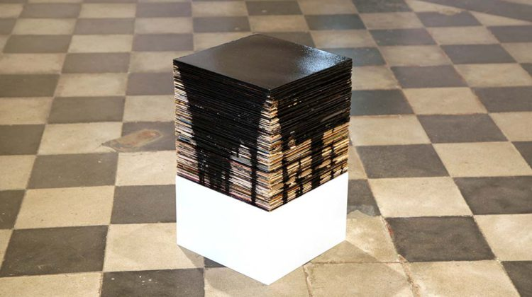 Jamie Shovlin -  Box Black -  2007-8 -  Bitumen on 75 records from the artist!s parents! record collection 31 x 31 x 31 cm