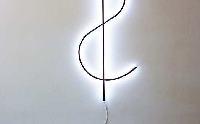 Inverted dollar - 2010 - White neon, black paint 178 x 75 cm Unique