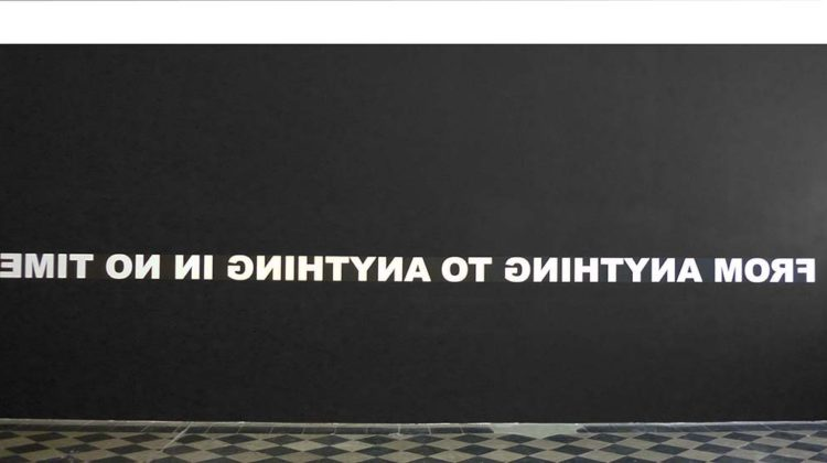 From anything to anything in no time (reversed) - 2010 - White vynil lettering on black wall 20 x 680 cm Unique