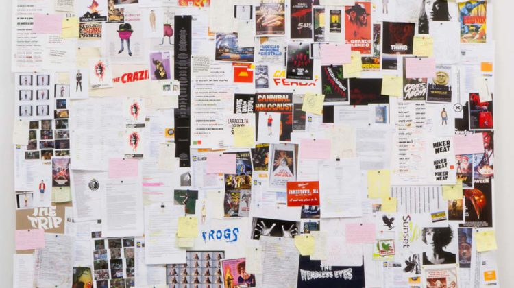 Jamie Shovlin -  Hiker Meat (assembly) - 2010-2011 - mixed media on pinboard 244 x 244 cm.