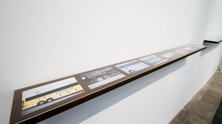 Colin Snapp - National Charter 1 (Disposable studies 54-60) - 2013 - 35mm prints 10,16 x 15,24 cm wood shelf, glass 139,7 x 13,97 cm