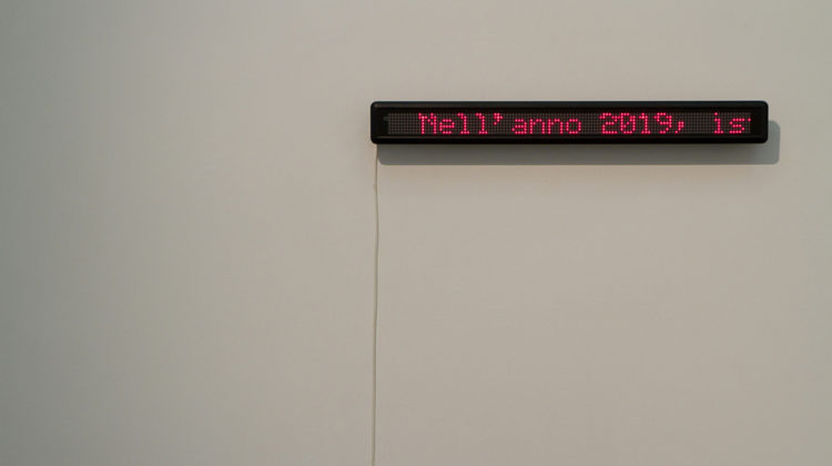"Raffaella Crispino - Weather Forecast - 2012 - Red LED display - 100 x 10 x 10 cm 10'22"" loop"