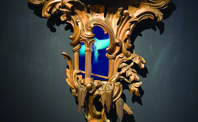 Mat Collishaw - Windfall -  2008 - Wood, steel, acrylic, lcd screen and surveillance mirror - 65 x 59 x 21 cm