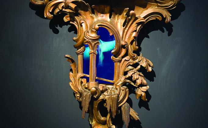 Mat Collishaw - Windfall -  2008 - Wood, steel, acrylic, lcd screen and surveillance mirror - 65 x 59 x 21 cm