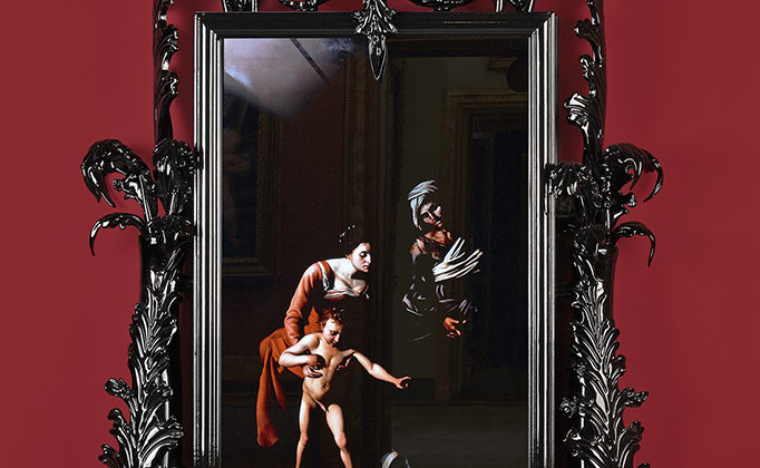Mat Collishaw - Black Mirror, Leo Minor - 2014 - Murano glass, surveillance mirror, steel, wood, lacquer, 55' LCD screen and hard drive - 230 x 125 x 35 cm Edition of 2 + 1AP
