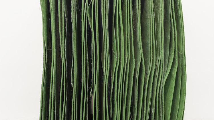 Simon Callery, Foot –Neck Wallspine, 2012-2013, Canvas, distemper, thread, cord and wood brackets, 146x93x64 cm Photo credit: Andrea Simi