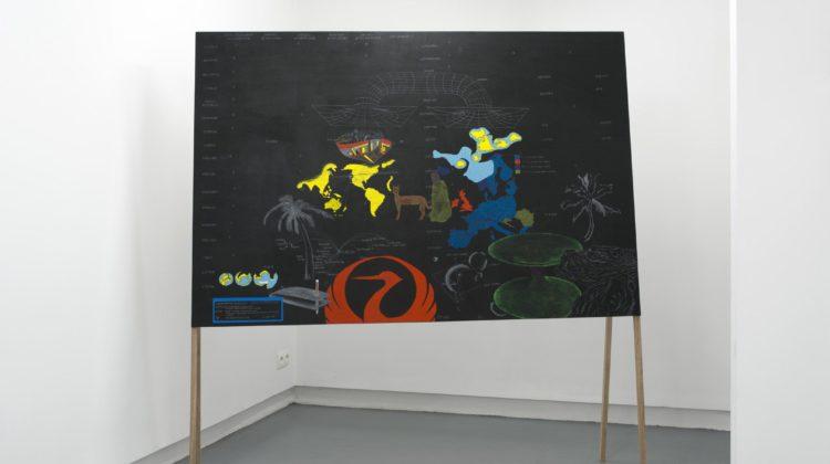 Tokyo - San Francisco,  2016, tempera, chalks, pastels, wood, 190x185x40cm