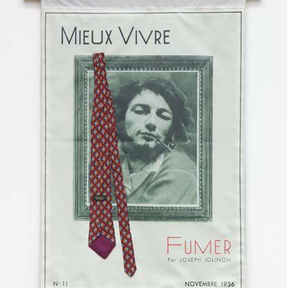 Smoking Before the War, 2017, Inkjet print on polyester fabric with cotton backing, silk Charvet Place Vendôme necktie, 103,5 x 68,5 cm