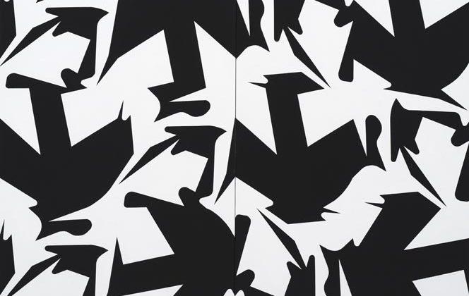 Sergio Lombardo, Quilting 2 modules n.1, 2017, Vinyl paint on canvas, 200 x 150 cm (2 modules: 100 x 150 cm each) Photo Credit: Giorgio Benni