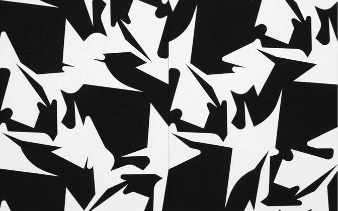 "Sergio Lombardo, Quilt ""Errata corrige"", 2017, Vinyl paint on canvas, 300 x 400 cm (2 modules: 200 x 300 cm each) Photo Credit: Giorgio Benni"